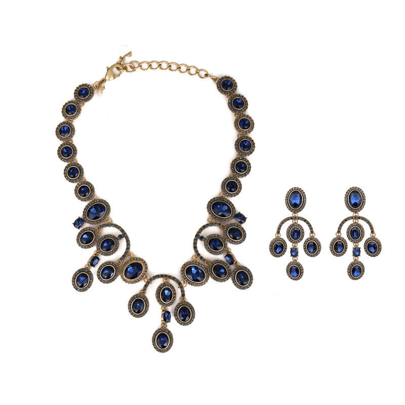 new fashionable elegant blue shining jewel necklace ear clip banquet host set party