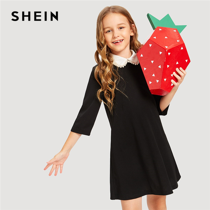 SHEIN Kiddie Contrast Collar Pearl Girls Elegant Short Tunic Party Dress Girls Clothing 2019 Spring Shift Kids Dresses For Girls girls contrast tape pants