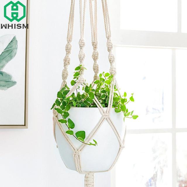 WHISM 90cm Macrame Plant Hanger Outdoor Flower Pot Holder Cotton Linen Indoor Balcony Planter Lifting Rope Hanging Basket String