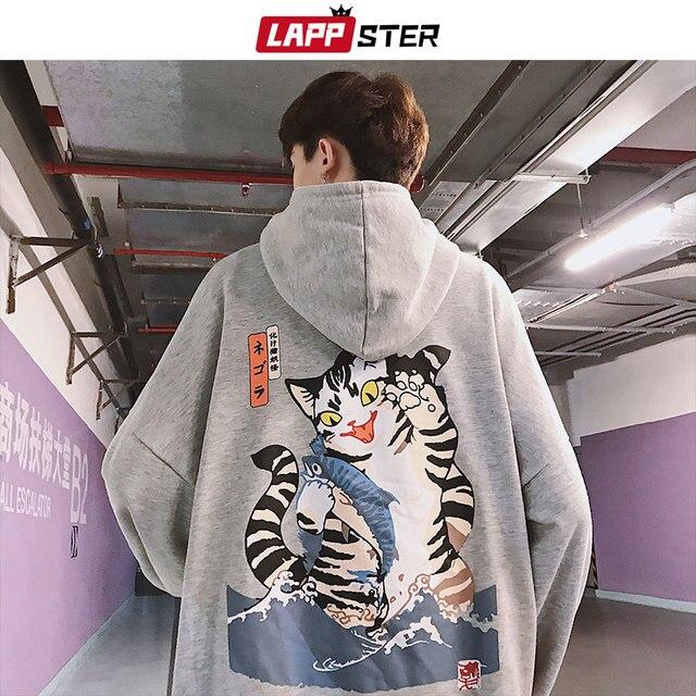 LAPPSTER Men Streetwear Funny Cat Hooded Hoodies 2019 Mens Hip Hop Harajuku Sweatshirts Male Korean Fashions Black Hoodie INS 4