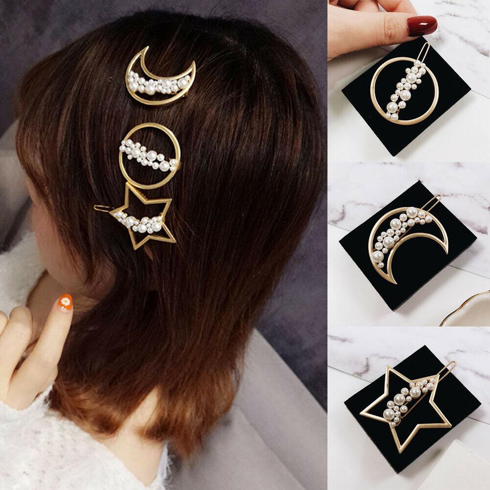 Elegant Crystal Barrettes Hair Clip Pearl Hairpin Headdress for Women Girls