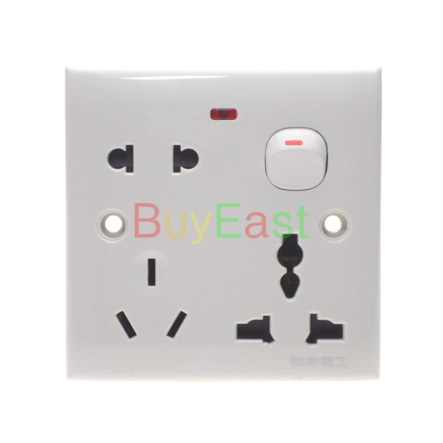 (1 PC) US/AU/UK/EU/China 3 IN 1 One Gang Wall Outlet Plate Socket With Main Switch AC110~250V 10A