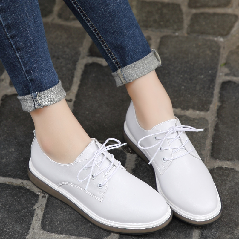 Premium Casual Shoes Women Genuine Leather Flats Shoes Female Oxfords White Black Lace Up Pointed Toe Ladies Zapatos Mujer odetina 2017 new designer lace up ballerina flats fashion women spring pointed toe shoes ladies cross straps soft flats non slip