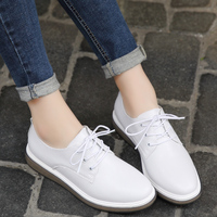 Premium Casual Shoes Women Genuine Leather Flats Shoes Female Oxfords White Black Lace Up Pointed Toe Ladies Zapatos Mujer