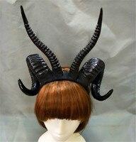 Handmade Devil Witch Gothic Lolita Sheep Horn Headband Hairband Accessory Cosplay Halloween Headwear Cosplay Photo Props