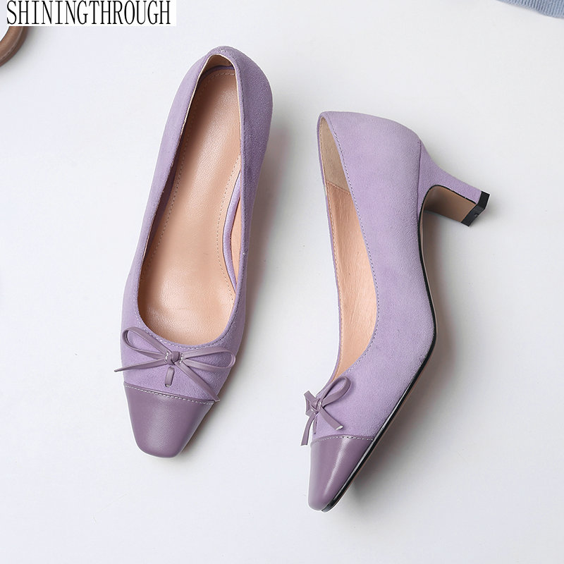 High Heels Shoes Women Pumps genuine leather Single Woman Dress Shoes Thick Heels square Toe Female