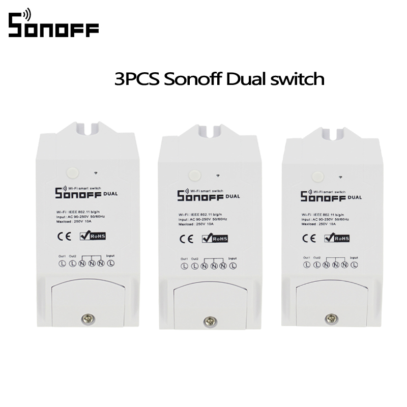 3PCS Sonoff Dual 2ch Wifi Lights Switch Multi-Device Controlled Wifi Switch Control Two Devices Smart WiFi Wireless Smart Swtich