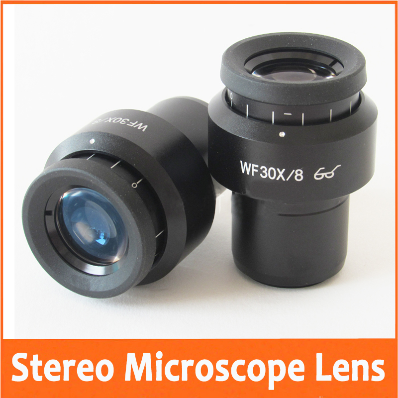 2PCS WF30X 8mm Zoom Adjustable Lab Stereo Biological Microscope High Eyepoint Eyepiece Optical  Lens with Mounting Size 30mm 20x monocular stereo microscope with 20x up right image small size 2x objective and wf10x eyepiece