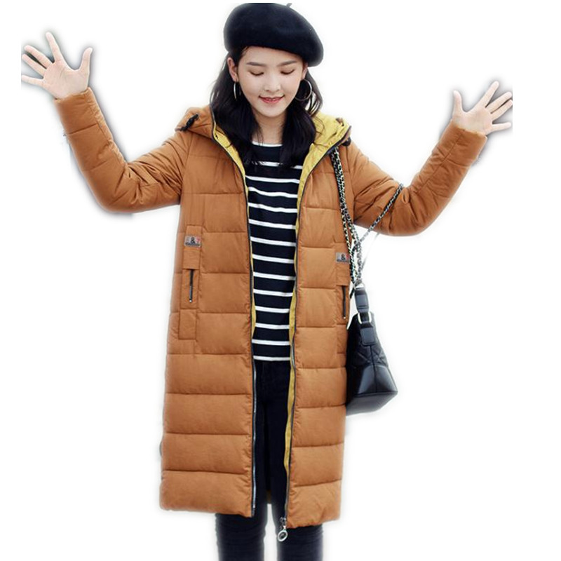 2017 New Style Winter Women Down Cotton Medium-Long Jacket Parka Female Hooded Size M-2XL Outerwear Slim Warm Cotton Parka CQ598 inc new beige cream latte women s size medium m ombre cardigan sweater $89 095