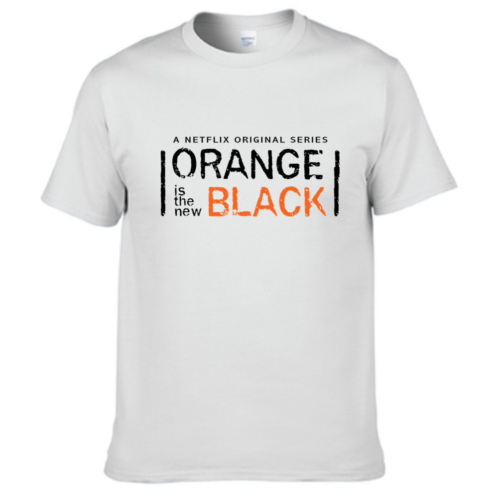 Black t shirt with white collar - Orange Is The New Black T Shirt Homme Short Sleeve Tees Women Round Collar Off White