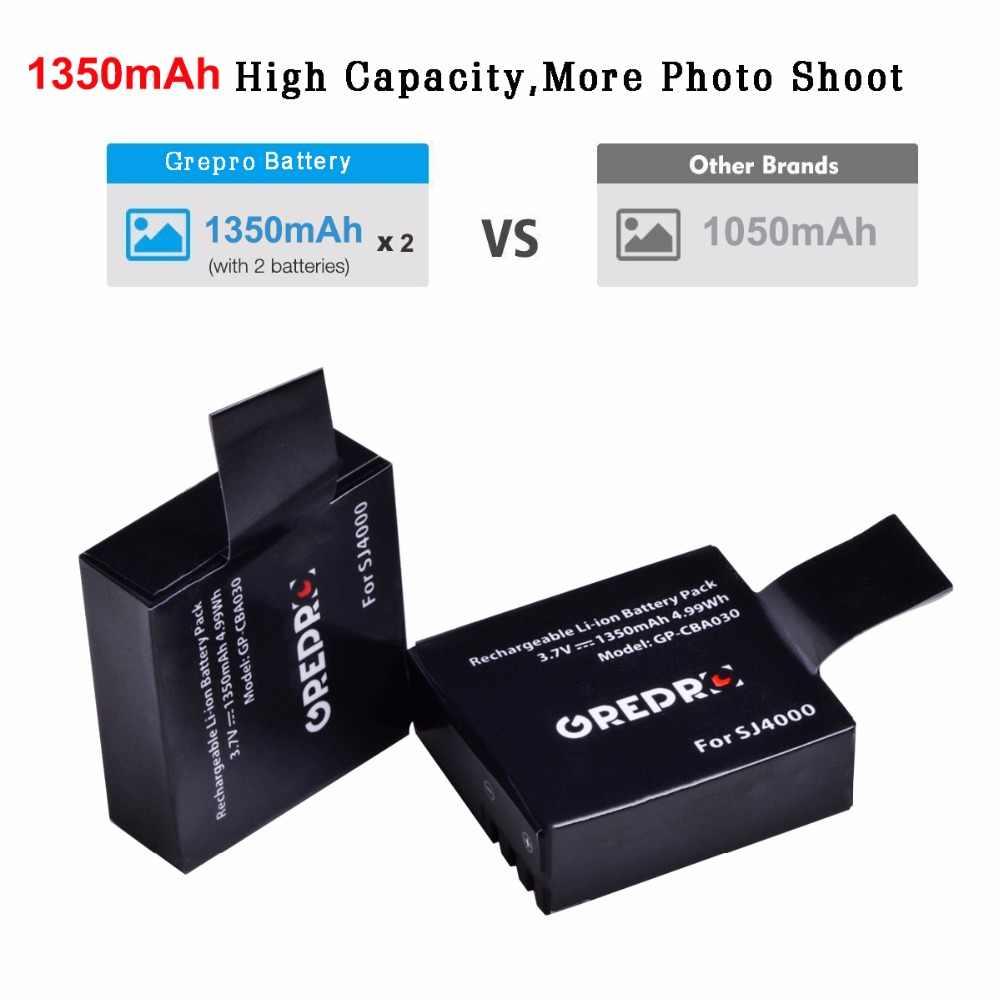 Grepro 4 шт. SJCAM SJ 4000 Батарея для Камера SJCAM SJ 4000 SJ5000 sj5000x SJ6000 sj7000 sj8000 sj9000 Wi-Fi SJ M10 eken H8 H8R