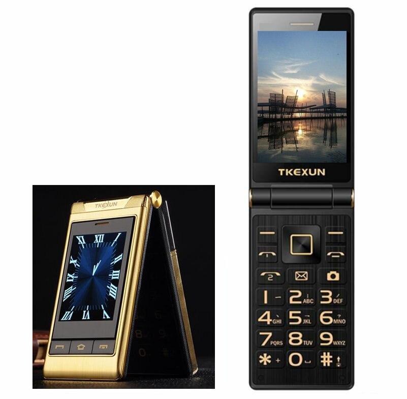 Cadeau 3.0 téléphones cellulaires double Écran vitesse cadran seule touche d'appel SOS FM principal contact mobile téléphone Russe clavier bouton TKEXUN G10