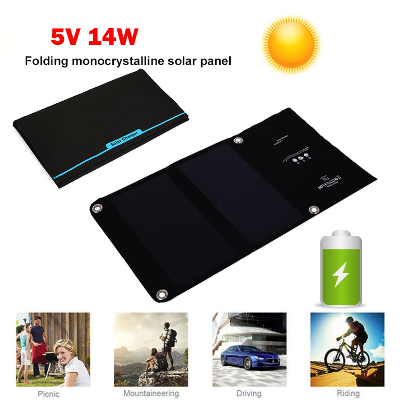 Chargeur solaire portatif de cellules solaires de panneau solaire 5 V 14 W alimentation d'énergie de secours silicium monocristallin pour le téléphone de comprimé extérieur