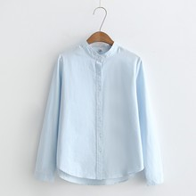 100% Cotton Office Shirt Slim Long Sleeve Blouse