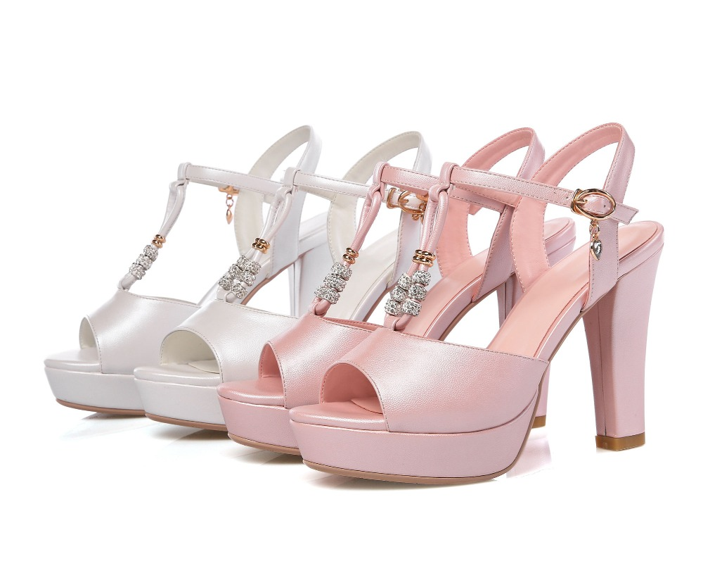 2016 new summer patent leather fashion sweet sexy female super high heels fish head buckle sandals heels banquet B0207