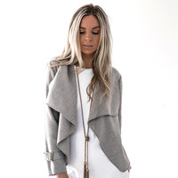 Fashion Autumn Winter Women Jackets Turn Down Collar Long Sleeve Woolen Coats Short Slim Basic Jackets
