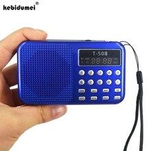 มินิแบบพกพา Dual Band ชาร์จจอแสดงผล LED สเตอริโอ FM วิทยุลำโพง USB TF Mirco สำหรับ iPhone Tablet PC MP3