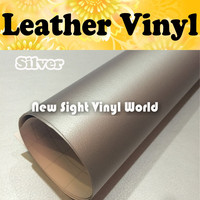 Silver Leather Vinyl Wrap Silver Leather Vinyl Film Leather Pattern Vinyl Sticker For Auto Phone Laptop Size:1.52*30m/Roll