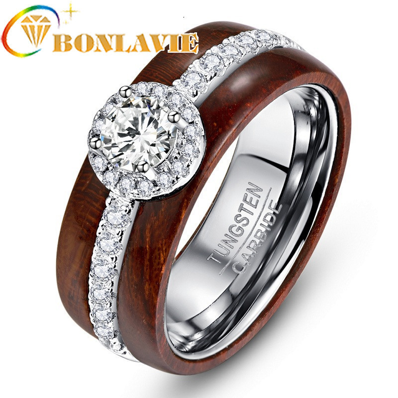 Exquisite Luxurious Tungsten Carbide Steel Ring With Silver Zircon Real Polished Koa Wood Rings For Wedding Jewelry tungsten carbide steel ring with wire drawing application