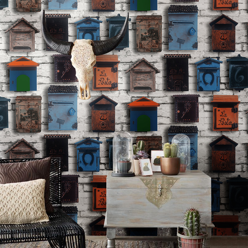vinilo pared Vintage Nordic Mailbox 3D Wall Papers Home Decor Personalized Loft Wallpaper Coffee Shop Papel Mural Contact Paper home improvement watercolor oil painting abstract wall paper roll waterproof contact paper papel mural vinilo pared behang