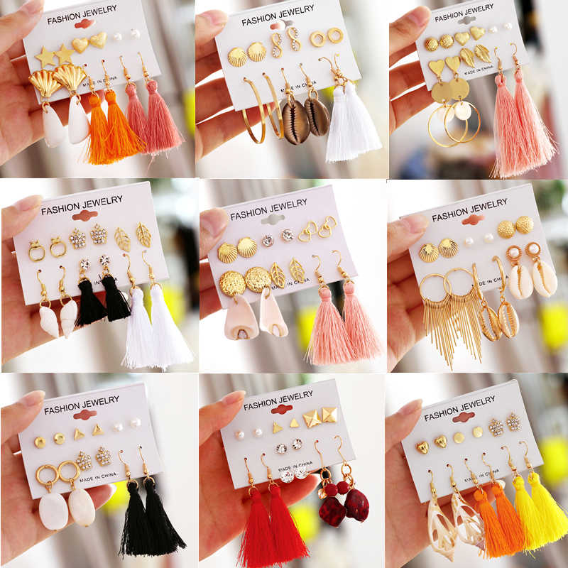 ZOSHI Colorful Long Tassel Stud Earrings Set Fashion Round Irregular Shell Earrings For Women Crystal  Earrings Jewelry