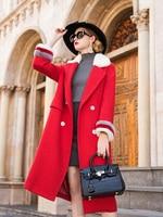 Шерстяное пальто женское зимнее пальто длинное шерстяное пальто Норковое меховое пальто с воротником стойкой Женское зимнее 2018