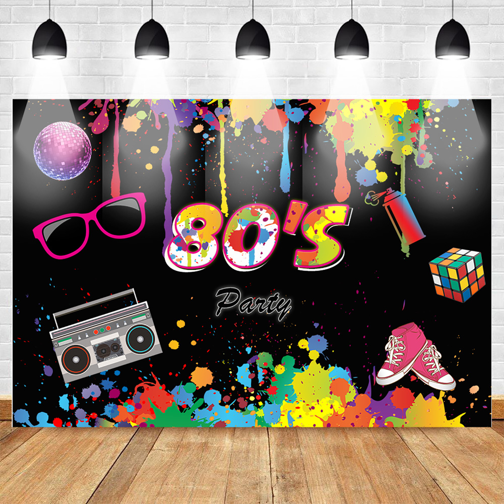 80's Party Backdrop Graffiti Hip Pop Neon Glow 80s Background Splatter Graffiti Wall Music 80th Hip PopThemed Party Backdrops image