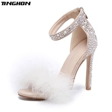 TINGHON Feather Crystal High Heel Sandals Fancy Glittering Ankle Wrap Stiletto Dress Wedding Shoes
