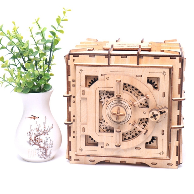 3D Puzzles Wooden Password Treasure Box Mechanical Transmission Puzzle Ukraine Model Valentines Day Creative Adults Gifts Grow