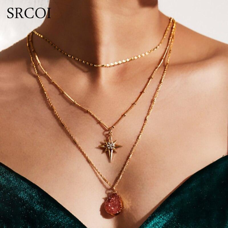 SRCOI модное 3-слойное ожерелье со стразами, длинное кварцевое ожерелье с кристаллами, ожерелье с подвеской в богемном стиле, ожерелье-чокер с цепочкой для женщин, украшения