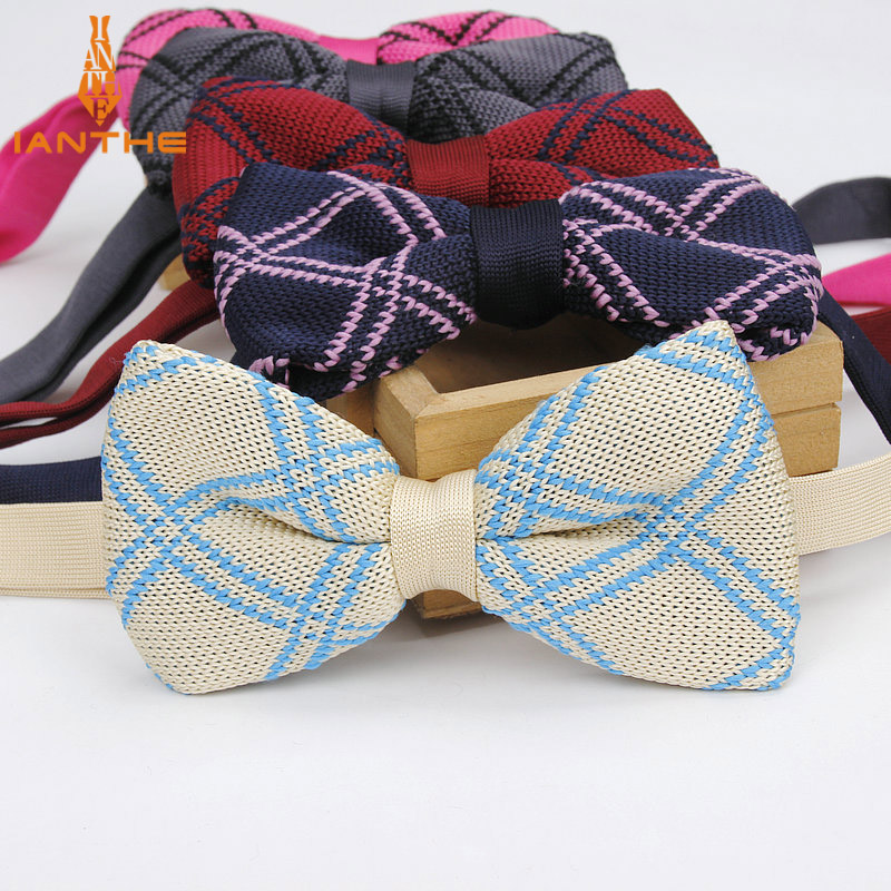 New Style Mens Women Knit Bowtie Adjustable Butterfly For Men Neckwear Bowtie Designer Knitting Knitted Plaid Check Bow Tie