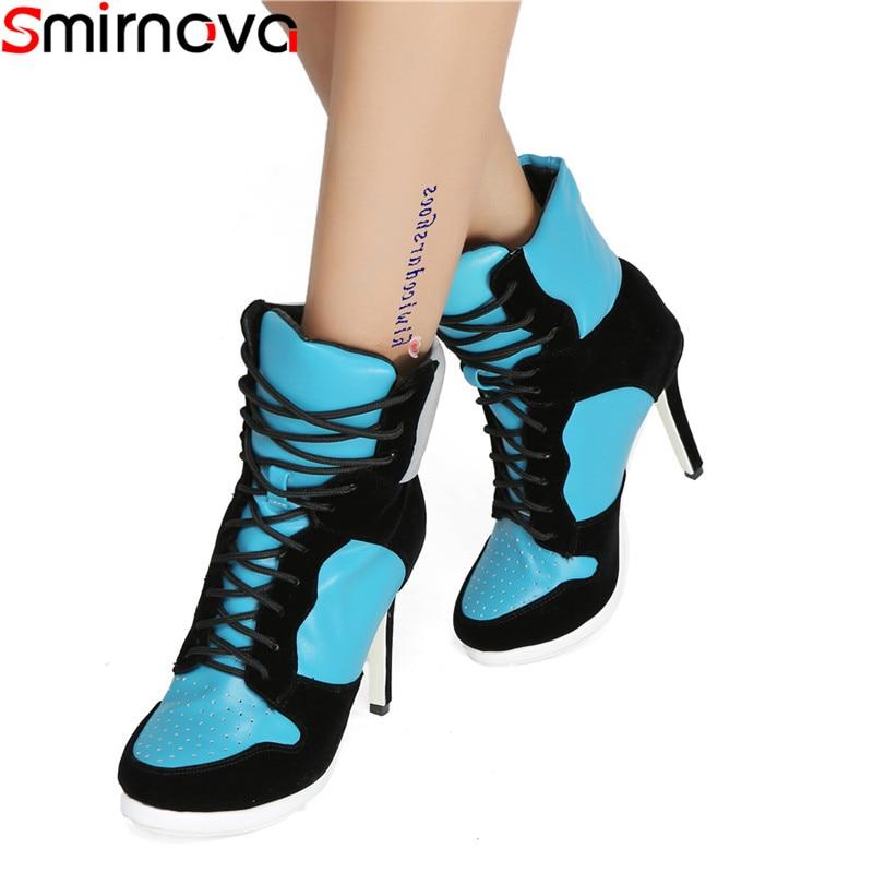 Smirnova plus size 35 47 fashion enkel laarzen voor vrouwen ronde neus lace up hoge hakken schoenen gemengde kleuren herfst winter laarzen vrouwen-in Enkellaars van Schoenen op  Groep 1