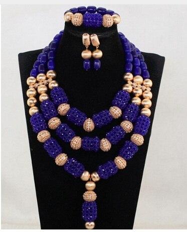 Dubai or bijoux de mariée ensemble nouveau bleu Royal mariage perles africaines ensemble de bijoux bleu cristal perlé pendentif collier ensemble ABH776