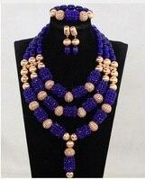 Dubai Gold Bridal Jewellery Set New Royal Blue Wedding African Beads Jewelry Set Blue Crystal Beaded Pendant Necklace Set ABH776