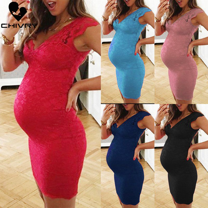 Chivry Maternity Dress Women Fashion Solid Lace Sleeveless V-neck Bodycon Pregnant Casual Clothes Summer