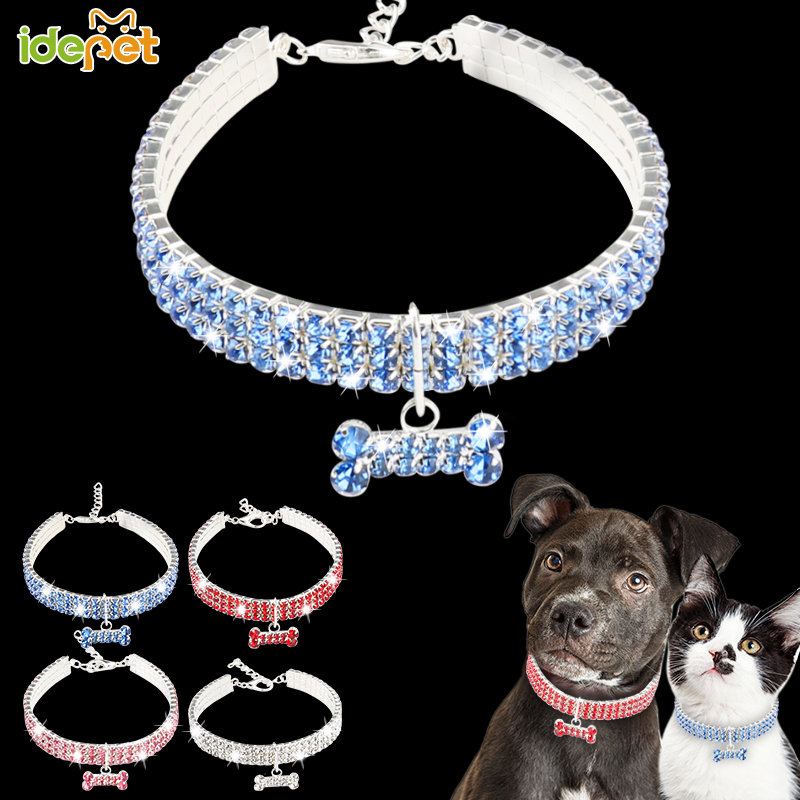 Bling Crystal Rhinestone Dog Cat Pet Pink Blue Heart Engraved ID Tag
