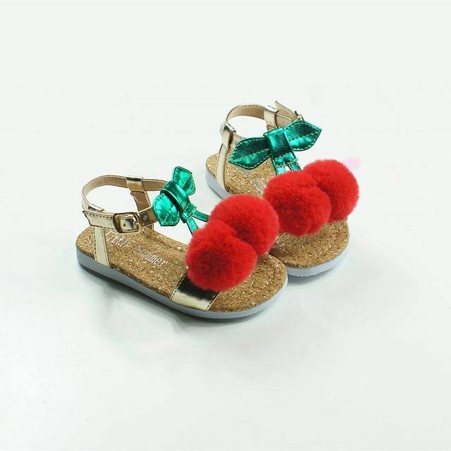 Lovely Cherry Girls Sandals Upscale Children Beach shoes Party sandals Pom Pom Baby moccasins Sandals