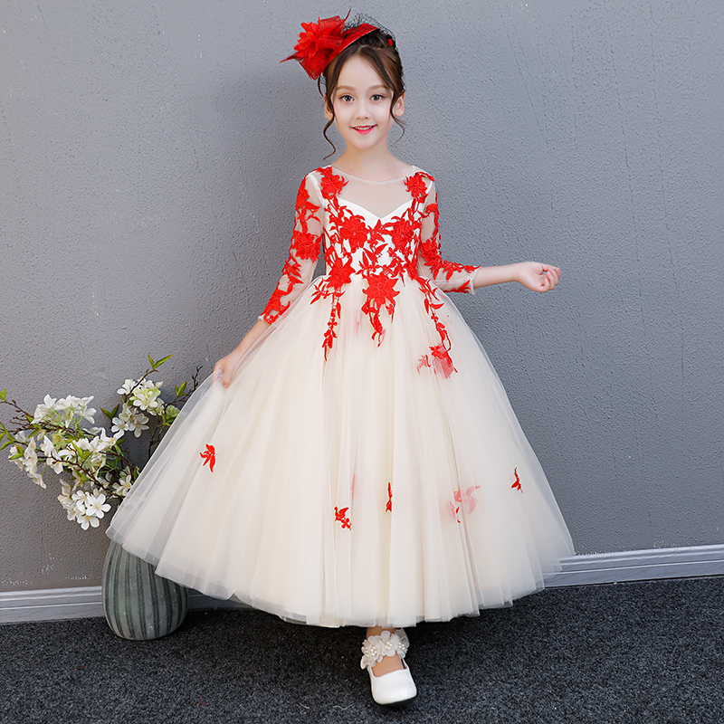 2018 New Autumn Summer Children Girls Luxury Birthday Wedding Party Long Ball Gown Dress Kids Baby Model Show Pageant Dress