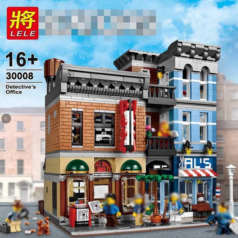 LELE briques de construction 30008 bureau de détective compatible avec legoinglys 10246 créateur ville rue jouets pour enfants cadeau d'anniversaire