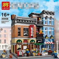 LELE building bricks 30008 Detective Office compatible with legoinglys 10246 Creator City Street toys for children birthday gift