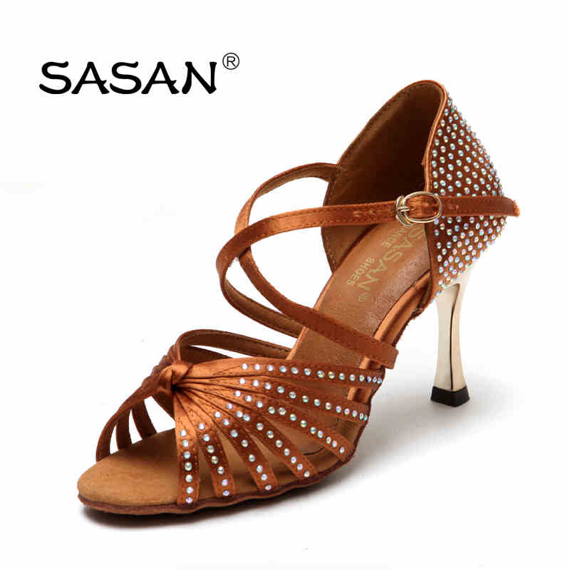 Sports Shoes Ballroom Latin Dance Shoes For Woman Girl  Soft Bottom Have Drill SASAN S-125 Import Satin 8.5cm Gold Heel Black