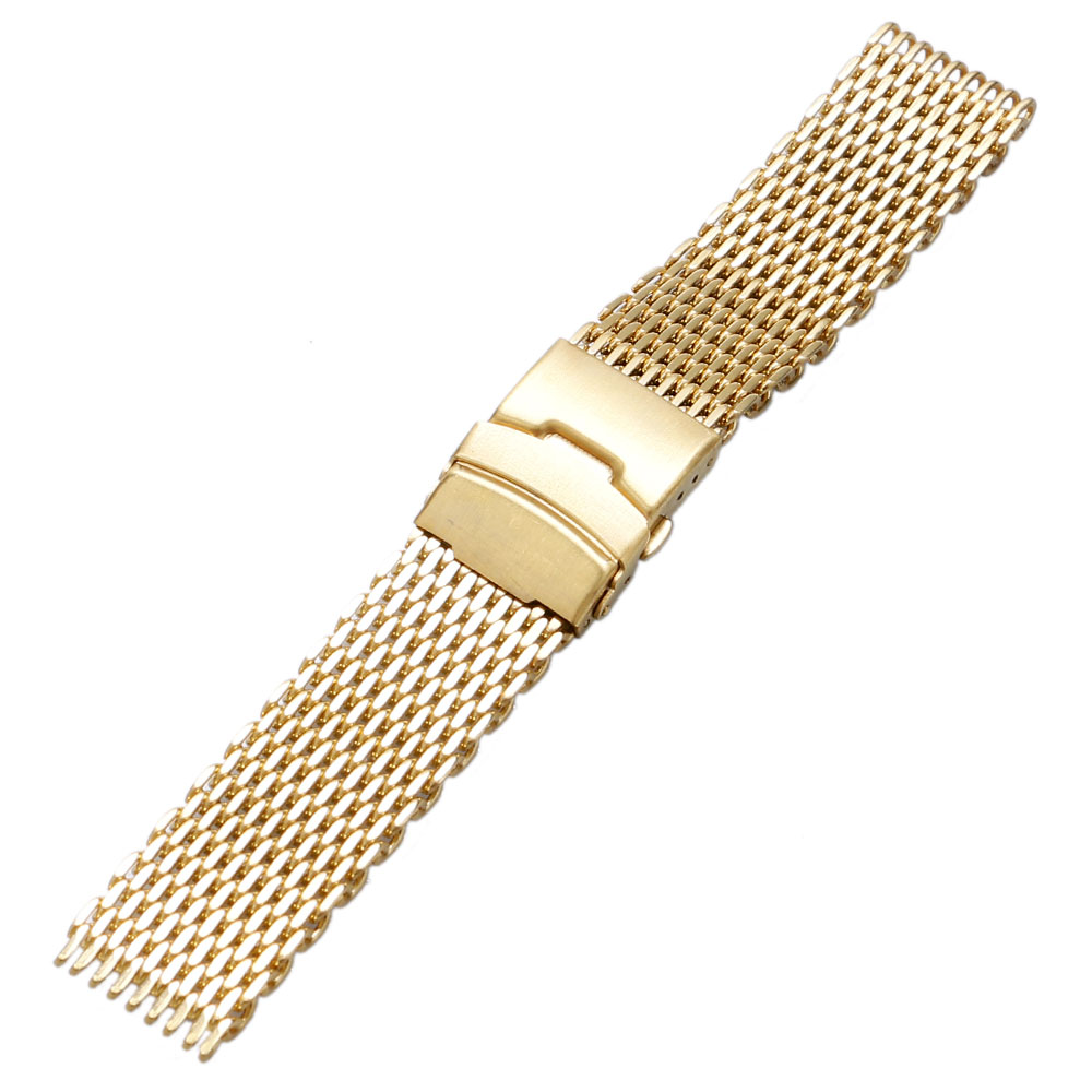 Luxury Gold Watch Band Mesh Watches Strap 18cm 20cm 22cm 24cm Stainless Steel Bands Replacement Strap for Hour Clock