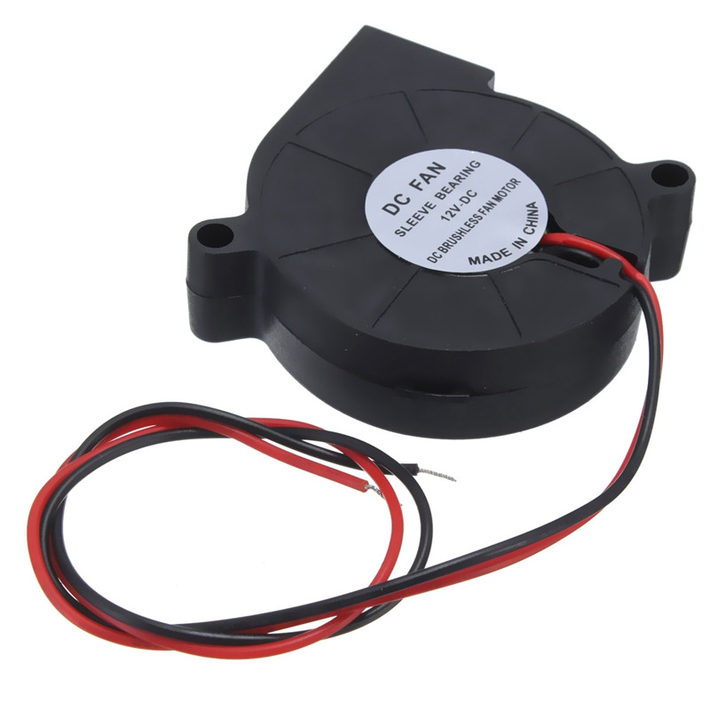 Dobbel 12V DC 50mm Blow Radial Cooling Fan for elektronisk 3D Printer Deler kulelager lang levetid lavt støyende