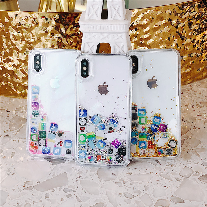 For Fundas iPhone 7 8 Case Plus iPhone X Cover Cute Glitter Luxury