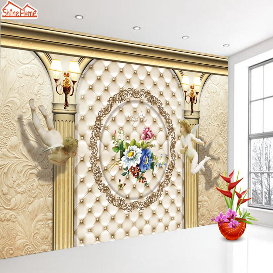 ShineHome-European Roman Pillar Angel Soft Roll Wallpaper for 3d Rooms Walls Wallpapers for 3 d  Living Room Wall Paper Murals shinehome red rose bloom golden golden wallpaper for 3d rooms walls wallpapers for 3 d living room wall paper murals mural roll