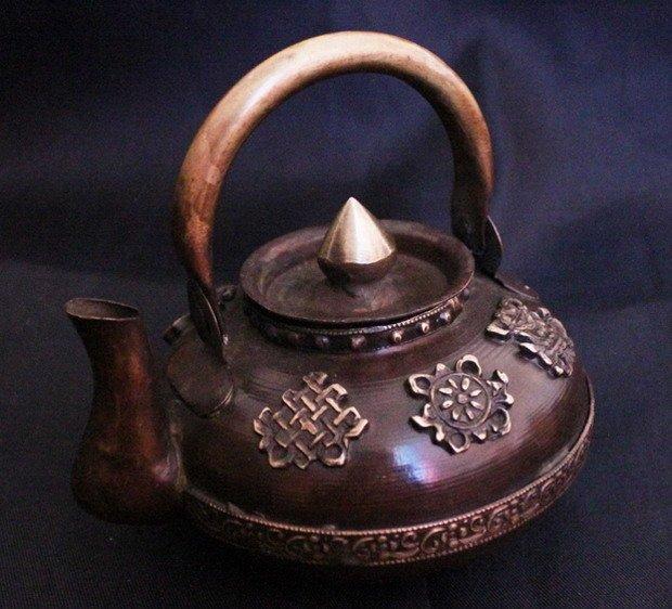 Hdc0718 Тибет традиционный красный латунь Вино чайник, тибетский резной повезло babaotea горшок, 5 '', домашнего декора ремесла, низкая moq, бесплатная