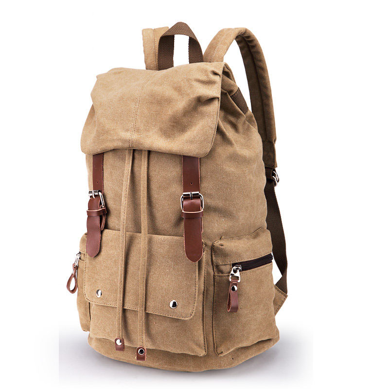 Retro Preppy Style Practical Backpack Fashion Belt Buckle Drawstring Washed Canvas Travel Bag Women Men Waterproof School Bag retro style pin buckle wide belt for women