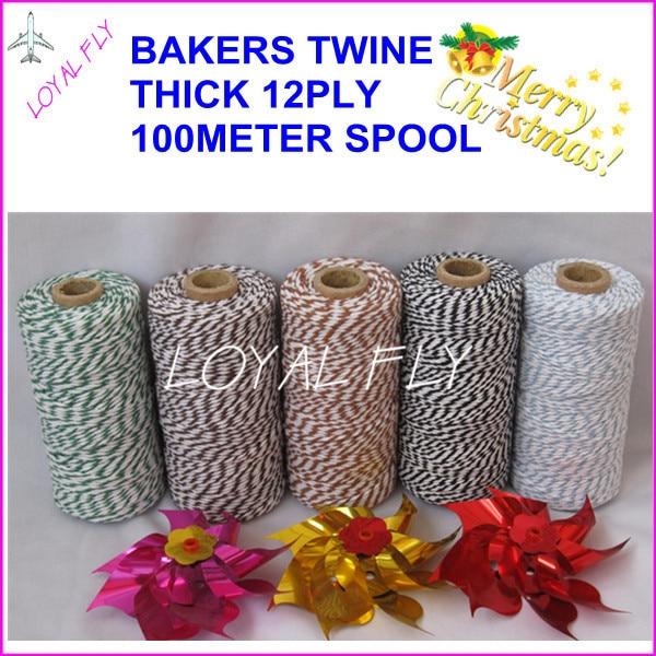 20 sztuk / partia sznurek bawełniany o grubości 12 warstw, 100 m / - Sztuka, rękodzieło i szycie - Zdjęcie 2