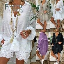 Длинный рукав плюс размер льняная рубашка женская белая кнопка вниз рубашка для женщин Свободный Повседневный хлопковый Блузка Топы Корейская женская одежда белая рубашка женская рубашка лен женская белая блузка