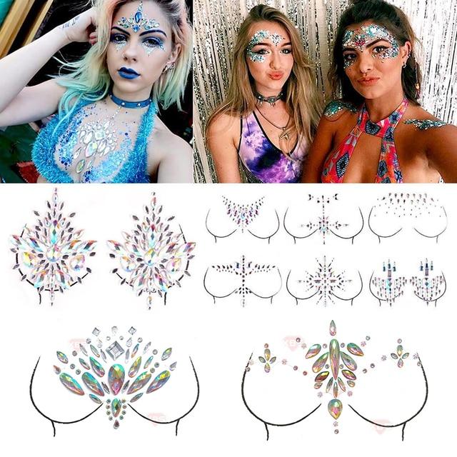 12 estilos adhesivos de gemas adhesivas de 12 estilos, pegatinas de maquillaje, cara, joya, cristal, Festival, gemas, pegatinas de maquillaje para el arte corporal